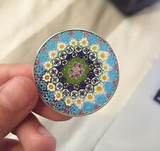 Italian Millefiori Flower Murano Glass Circle Pendant 36mm