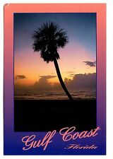 Gulf Coast Florida Postcard Sunset Palm Tree Sand Beach Unposted Pink Purple