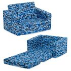 Blue Camo Cozee Flip-Out Sofa 2-in-1 Convertible Sofa to Lounger, Kids Armchair