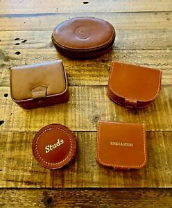 COLLECTION OF 5 x LEATHER VINTAGE JEWELLERY BOXES. STUDS & CUFFLINKS BOXES