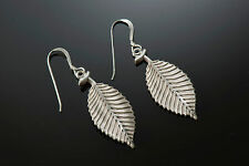 Sterling Silver High Relief, Hand Finished and Unique Beech Leaf Earrings