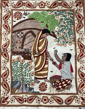 Antique India hand embroidered on silk wall Art linen backed Signed Vtg
