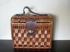 Vintage 1950's Tan Wicker Box Purse 50's Woven Handbag Faux Leather Turnlock 60s