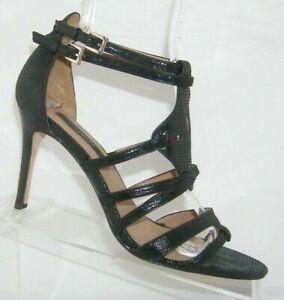 Ann Taylor black leather reptile print t-strap strappy peep toe heel 8.5M