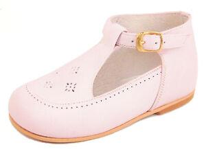 DE OSU - Baby Girls Pink Leather T-Strap Dress Shoes - European - Size 0-6