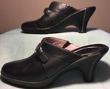 Cole Haan Mule Heels Womens Size 8 B Black Leather Slip On Buckle D17418 Brazil