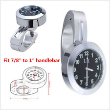 """7/8""""1"""" Motorcycle BIke Accessory Handlebar Black Dial Clock Universal Waterproof"""