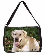 Yellow Labrador 'Love You Dad' Large Black Laptop Shoulder Bag School, DAD-177SB