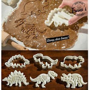 Dinosaur Fossil Cookie Biscuit Cutter 3x Set T-Rex Stegosaurus Triceratops Dino