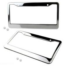 2PC Stainless Steel Chrome Plate Frame Tag Cover With Screw Caps Metal License