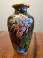 "6"" Cloisonne Black Vase With Peony Flower"