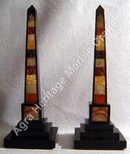 """12"""" Pair of Black Marble Obelisks Italian Specimen Pietra Dure Marquetry E517"""