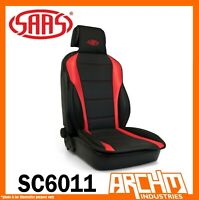 SAAS Universal Sports Seat Cushion Cover Front Seat PU Leather Black Red Padding