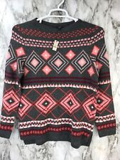 Talbots Petite Women's Sz MP Popover Sweater Printed Long Sleeve