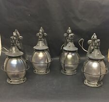Antique Hammered Iron Onion Globe Exterior Light Arts and Crafts Bungalow- Four