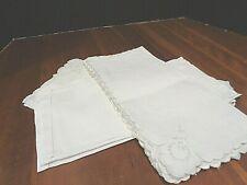 Collection of 12 Antique 100% Linen napkins 3 patterns