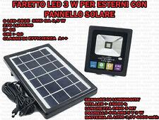 FARETTO 3 W 6 LED PER ESTERNO IP 65 PANNELLO SOLARE 5 V SENSORE CREPUSCOLARE