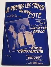 Partition vintage sheet music JULIETTE GRECO / EDDIE CONSTANTINE * 50's