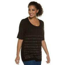 Ulla Popken Stripe Bead Tshirt Black Size EU 46/48 UK 18/20 NH192 AA 13