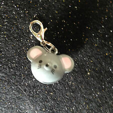 Cute Grey Mouse Shaped Bell Charm with lobster Clasp for Cat or Kitten Collars