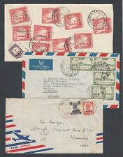 THREE Pakistan Covers to various locations Airmail Postal History Fair Condition