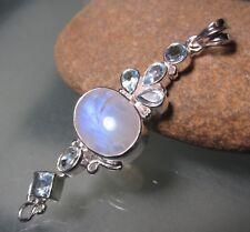 Sterling silver long oval rainbow moonstone & cut blue topaz pendant. Gift bag.