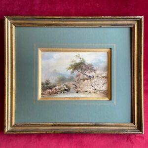 Dessin d'Eugène CICERI (1813- 1890), XIXe, paysage animé, aquarelle datée signée