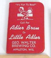 Adler Brau Brewery Bowling Address Memo Book 1955-56 Season Mint Condition