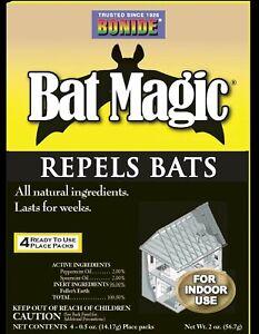 Bonide Bat Magic Non Toxic Bat Repellent. 4 Ready to Use Packs. Natural and Safe