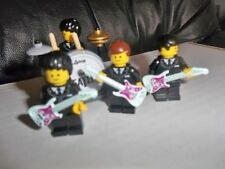 THE BEATLES LEGO MINIFIGURES WITH DRUM KIT CYMBALS DRUM STOOL AND GUITARS FAB!