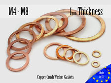 M4 / M8 Thick 1mm Metric Copper Flat Ring Oil Drain Plug Crush Washer Gaskets