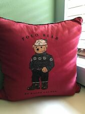"Vintage Ralph Lauren Polo Bear Ski Sweater Pillow Goose Down Red Blue Denim 18"""