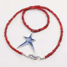 """17"""", Rla Native American necklace heishi coral beads W sterling 925 silver star"""