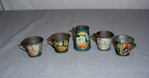 Vintage Ohio Art Tin Litho Little Red Riding Hood Toy Dishes 4 Cups Pitcher 5pcs