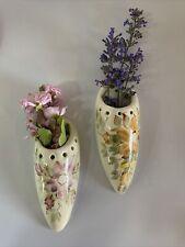 More details for vintage wall pocket  ceramic pair retro moulin huet guernsey floral