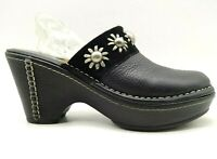 Ariat Black Leather Studded Floral Block Heel Slide Mule Clogs Shoes Women's 7 B