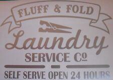 Laundry Service Fluff & Fold Kitchen Utility Room Vinyl Sticker Wall Tile