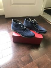 Salvatore Ferragamo Men's Blue Suede Ankle Boots World Collection