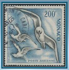 1957 MONACO PA N°67 ,oiseaux, oblitéré MONTE CARLO, Cote : 231€