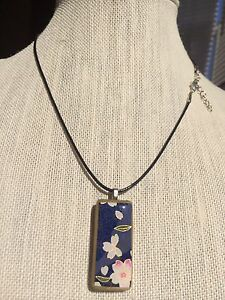 """Domino Or Bamboo Altered Art Pendant On  18"""" Black Cord Necklace With Ext. Chain"""