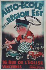 """""""AUTO-ECOLE de la REGION EST"""" Affiche originale entoilée Litho Cl.CAHON 85x125cm"""