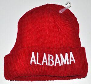 Alabama Red Knit Stocking Hat Beanie Soft Fuzzy Lining Adult Size New!!