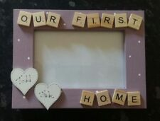 """Bespoke Personalised our first home photo Frame 6""""x4"""" scrabble art gift keepsake"""