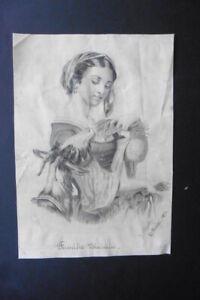 FRENCH SCHOOL 1894 - ROMANTIC SCENE - WOMAN FEEDING GOAT - PENCIL SIGN. SEGALA
