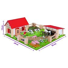 Small Farm Yard Wooden 21Pc Kids Toddler Childrens Toy Play Set Animals Fences
