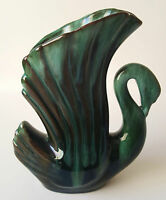 "Vintage Blue Mountain Pottery Swan Vase Green Glazed 6"" BMP Red Clay Glaze"