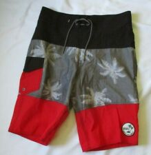 VANS OFF THE WALL BLACK & RED TROPICAL SWIM TRUNKS / BOARD SHORTS - SIZE  30/20