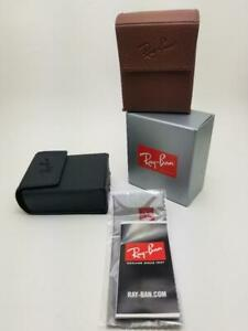 Ray Ban Leather Folding Sunglasses / Eye Glasses Case w/ Booklets + Cloth - NEW!