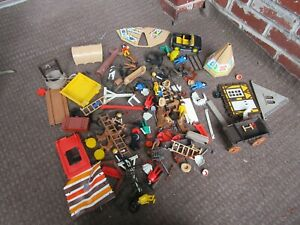 VINTAGE TOY LOT PLAYMOBILE CAR WAGON FIGURES TENTS CANOES HORSES ACCESSORIES #1