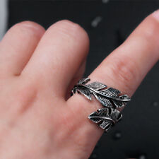 Fashion Woman Men Antique Silver Stainless Steel Feather Ring Band Jewelry TR